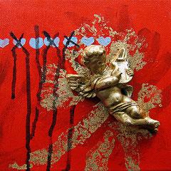 """""""segni"""" acrilico, elemento in gesso e foglia oro su tela cm20x20"""