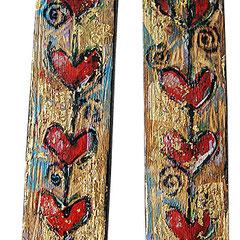 """""""cuori di legno"""" acrilico su tav. di legno incise cm6x23"""