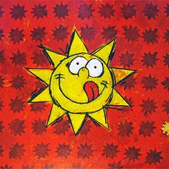 """""""il Sole per PizzaRio"""" acrilico e carboncino con inserto in foglia oro cm100x50"""
