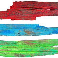 """""""Assi a colori"""" acrilici su assi di legno raccolte a Cima Uomo m.2030  - P.sso San Pellegrino, Moena (TN) cm137x70 - Il colore ferma il tempo che consuma."""
