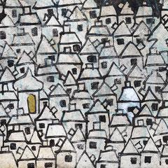 """""""la casa bianca"""" segni di acrilico e di matita azzurra su carta raccolta per caso cm14,5x10,5"""