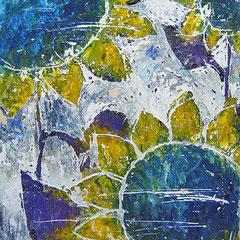 """""""girasoli d'inverno"""" acrilico su gesso graffiato su cartone vecchio cm32,2x41,2"""