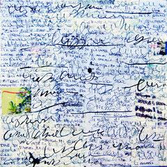 """""""contatto due"""" collage carta lettere, gesso acrilico con tratti a matita su tela cm30x30"""