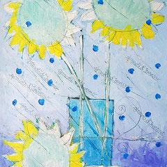 """""""girasoli d'inverno 2"""" acrilici, segni a matita su carton legno graffiato cm64x48"""