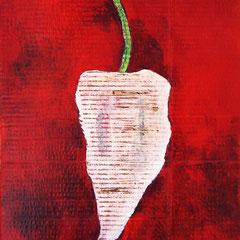 """""""il peperoncino piccante"""" acrilici su cartone d'imballo rifinito con vernice all'acqua cm40x62"""