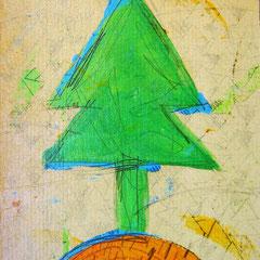 """""""pino nel bosco""""acrilici e segni a matita su pezzo di cartone vecchio cm13x18"""