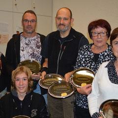 Les récipiendaires : Yves, Marie-Claire, Pascal, Nicole, Martine et  Julien.