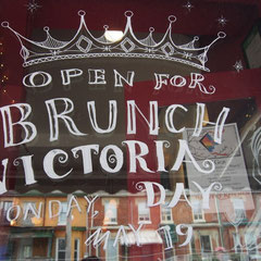5:06pm finished write on the restaurant's window for Victoria day