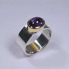 Ring Amethyst, SterlingSilber/Gelbgold