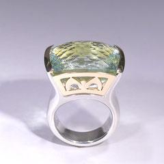 Ring grüner Beryll, SterlingSilber/Gelbgold