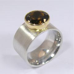 Ring Rauchquarz, SterlingSilber/Gelbgold