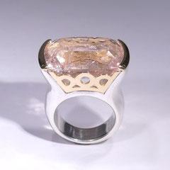 Ring rosa Beryll, SterlingSilber/Gelbgold
