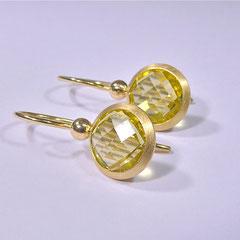 Ohrhänger mit Citrin-Briolette, 750/-Gelbgold