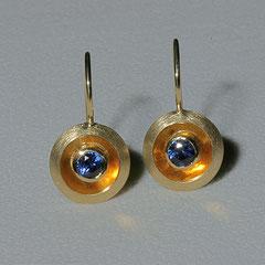 Ohrhänger Linse mit Saphir, 750/-Gelbgold