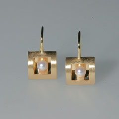 Ohrhänger mit Perlen, 750/-Gelbgold
