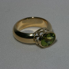 Ring Peridot, SterlingSilber/Gelbgold