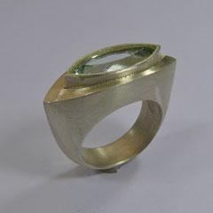 Ring Beryll, SterlingSilber/Gelbgold