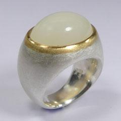 Ring indischer Mondstein, SterlingSilber/Gelbgold