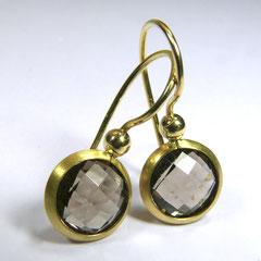 Ohrhänger mit Rauchquarz-Briolette, 750/-Gelbgold