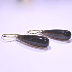 Ohrhänger mit Mondstein und Perle, 750/-Gelbgold