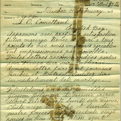 Nazaire Levasseur envoie un télégramme à Lucien Comettant (L.O. Comettant) pour le féliciter du futur mariage entre sa fille Renée et le comptable Henri Paquet. Le 11 février 1903
