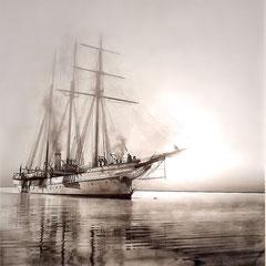 Yatch la Bacchante, Baie Ellies, 1901. Voilier-vapeur d'Henri Menier, qu'il utilisa pour venir à l'île d'Anticosti. Il avait appartenu au prince Stroganoff.