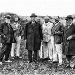 Gaston Menier, le président des États-Unis, William H. Taft (1909-1913), Martin-Zédé, M. Donohue, Lomer Gouin, premier ministre de la province de Québec (1905-1920),