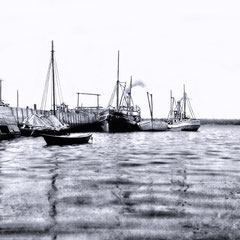 Le port Jolliet à baie Ellis. Le SS Savoy et l' Alpha (à droite) sont amarrés.