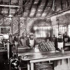 Mise en boite et sertissage homarderie (voyage de la Bacchante) 1901