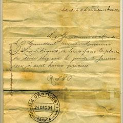 Le Gouverneur et Madame L.O. Comettant prient Monsieur J. Henri Pâquet de leur faire le plaisir de dîner chez eux le jeudi 2 janvier 1902 à sept heures précises.