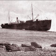 Le steamer Merrimac, échoué au cap de l'est à l'île d'Anticosti, en juillet 1899