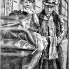 Simone Lavigne, épouse de Fernand le Bailly et sa mère, Blanche Comettant, soeur de Lucien Comettant. (photo prise en mars 1907). Blanche avait marié Ernest Lavigne en 1876, décédé en 1880. Son témoin était Chales Gounod, compositeur français.