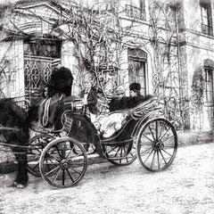 M. R. Eustache, cousin de Martin-Zédé, qui s'occupa d'organiser le secrétariat à Paris, devant son château de Fourchambault et M. Landrieux, chef comptable, 1900.