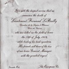 Avis de décès de Fernand Le Bailly né en 1880, arrivé sur l'île Anticosti en 1896. Il a épousé en 1903 Simone Lavigne, fille de Blanche Comettant, soeur de Lucien Comettant.