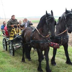 Visite du CNVVF du village de Guyencourt Saulcourt en calèche