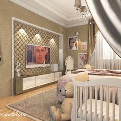 Дизайн зоны кинотеатра в спальне для семьи с ребенком