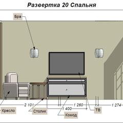 Дизайн проект спальни развертки стен
