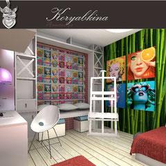Интерьер комнаты девочки в стиле поп арт