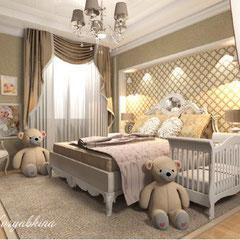 Красивая кровать в спальне для семьи с ребенком, детская кроватка в спальне