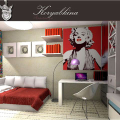 Дизайн интерьера детской комнаты от частного дизайнера в стиле поп арт