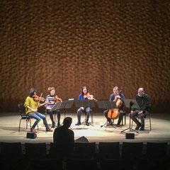 """Generalprobe """"Der Vogelsang"""" am 19. 1. 2019im Kammermusiksaal der Elbphilharmonie Hamburg mit Jan Philipp Reemtsma und dem Kizuna Quartett"""