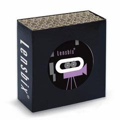 Lensbix l i l a / Kontaktlinsenbehälter / Kontaktlinsenbox / Box für Kontaktlinsenaufbewahrung  / in Geschenkverpackung