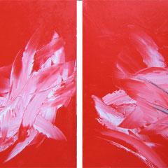 Dragon-fly und Swan - oil on canvas - je 50 x 50 - EUR 400