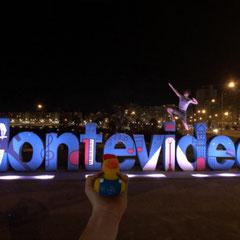 Davids Ente Posiert sportlich mit David in Montevideo (Uruguay).