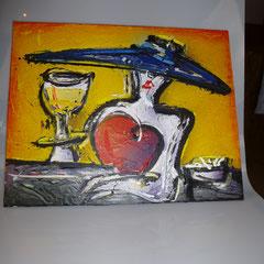 30. Schilderij, Vrouw met Hoed, ↨ 40 cm ↔ 50 cm, € 85