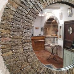 Miroir Mosaïque Plumes de Lauze - Pyrite
