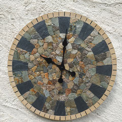 Pendule Mosaïque de Lauze, Ardoise et Pyrite