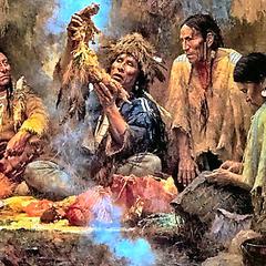 Indiens d'Amérique assis autour d'un feu et partageant le calumet.