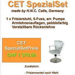 H.N.C. Frisierstuhl und Frisiermantel (nach Wahl)