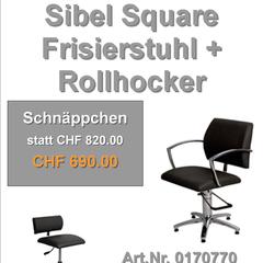 Sibel Square Frisierstuhl + Rollhocker